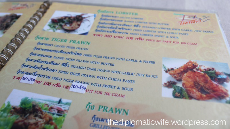 Menu at Phong Phang - Palai Bay Phuket Thailand