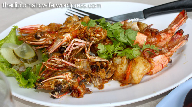 Fried Garlic butter prawns at Phong Phang - Palai Bay Phuket Thailand