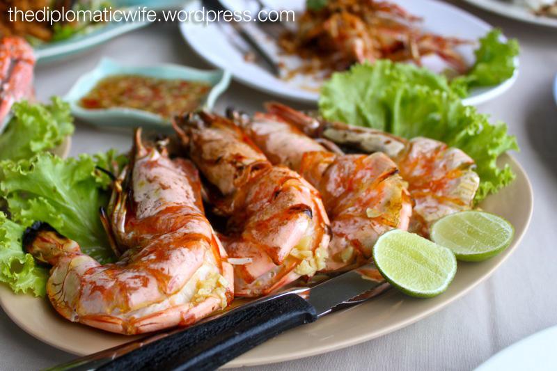 Grilled prawns at Phong Phang - Palai Bay Phuket Thailand