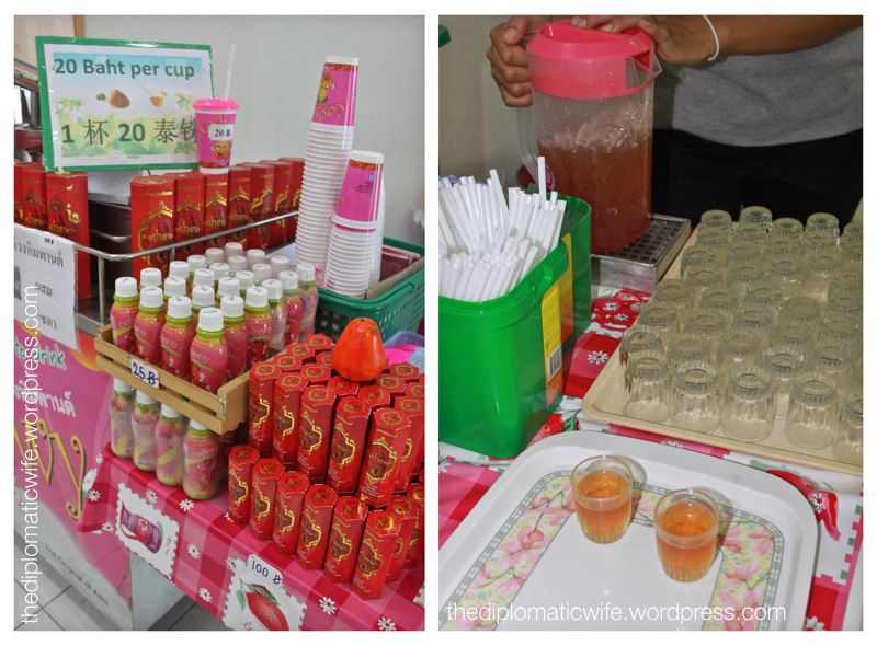 Cashew apple juice at the Sri Bhurapha Orchid Phuket Cashew factory store