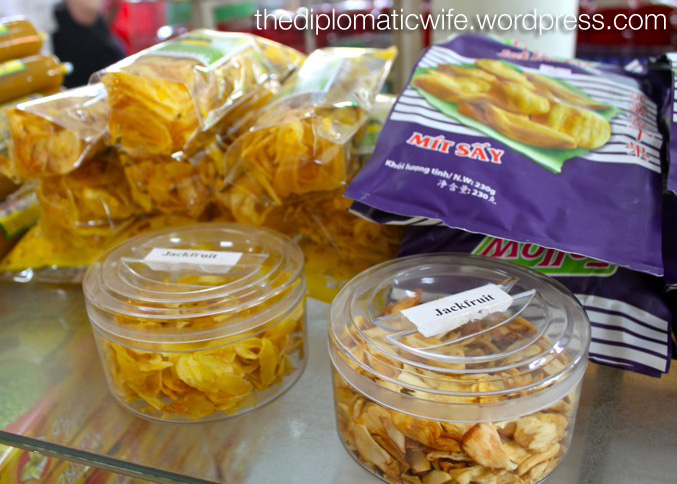 Different kind of Jackfruit chips at the Sri Bhurapha Orchid Phuket Cashew factory store