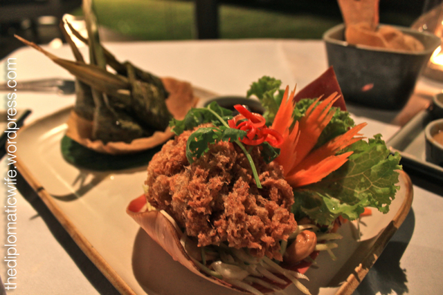 Yam pla dook fu or crispy catfish salad and Gai hor bai toi or pandan wrapped chicken at the Thai Cultural Evening in Sala Restaurant Phuket Thailand
