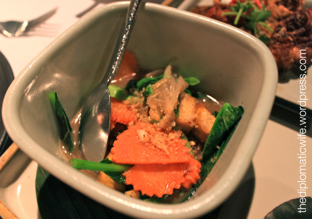 Phad phak benjarong or stir fried vegetables and tofu at the Thai Cultural Evening in Sala Restaurant Phuket Thailand