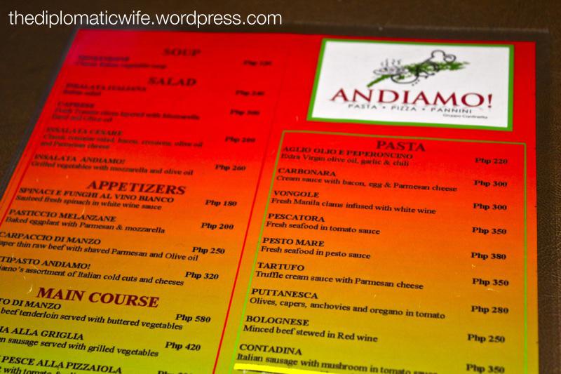 Andiamo NAIA 3 Italian Restaurant - Menu