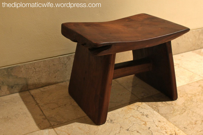 Solid wood gardening stool from the JICC Indocraft Fair