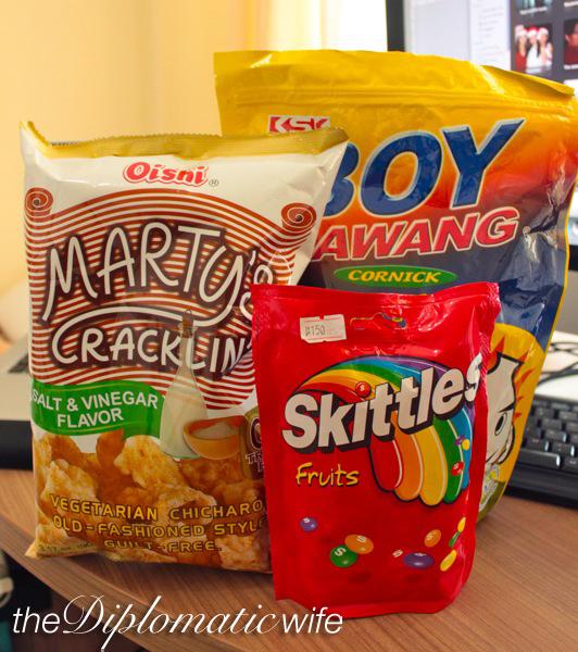 marty's vegetarian cracklings, boy bawang, skittles