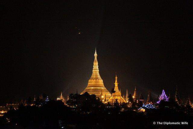 YANGON: Shwedagon Pagoda View from Yuzana Hotel