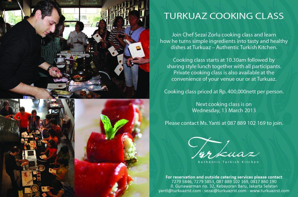 ANNOUNCEMENT: Turkuaz Cooking Class March 2013