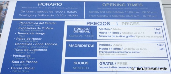 bernabeu stadium hours entrance fee