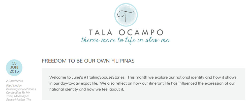 On Being Interviewed by Tala Ocampo for #TrailingSpouseStories